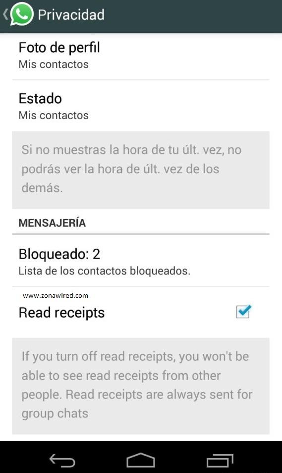 desactivar doble check azul mensajes leidos