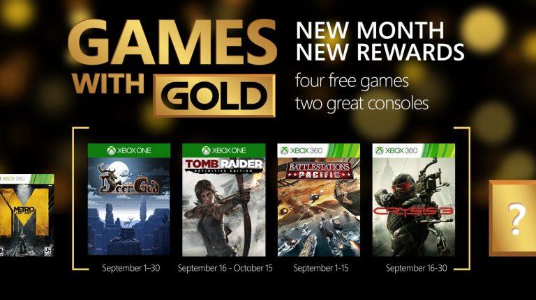 Tomb Raider y Crysis 3 entre los juegos Games With Gold de septiembre